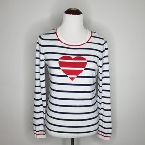 Talbots Red Heart Navy and White Stripe Sweater